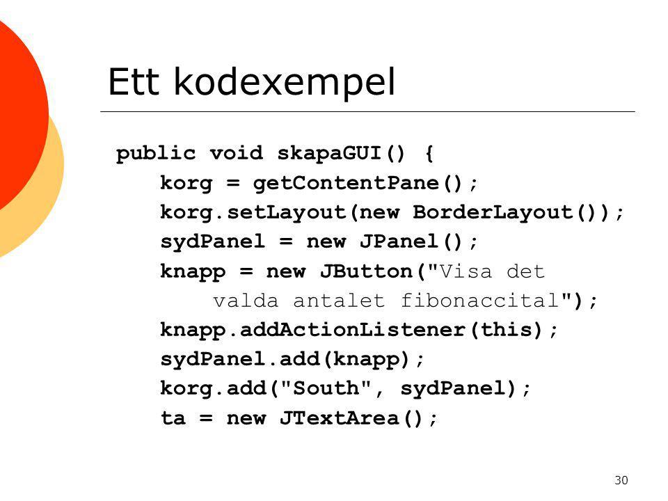 Ett kodexempel public void skapaGUI() { korg = getContentPane();