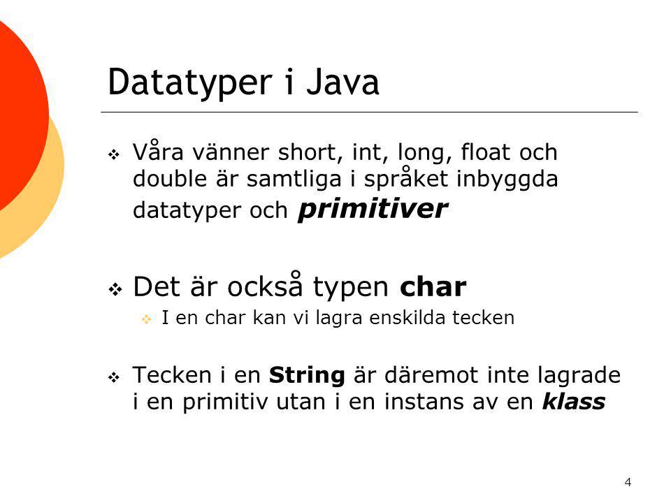 Datatyper i Java Det är också typen char