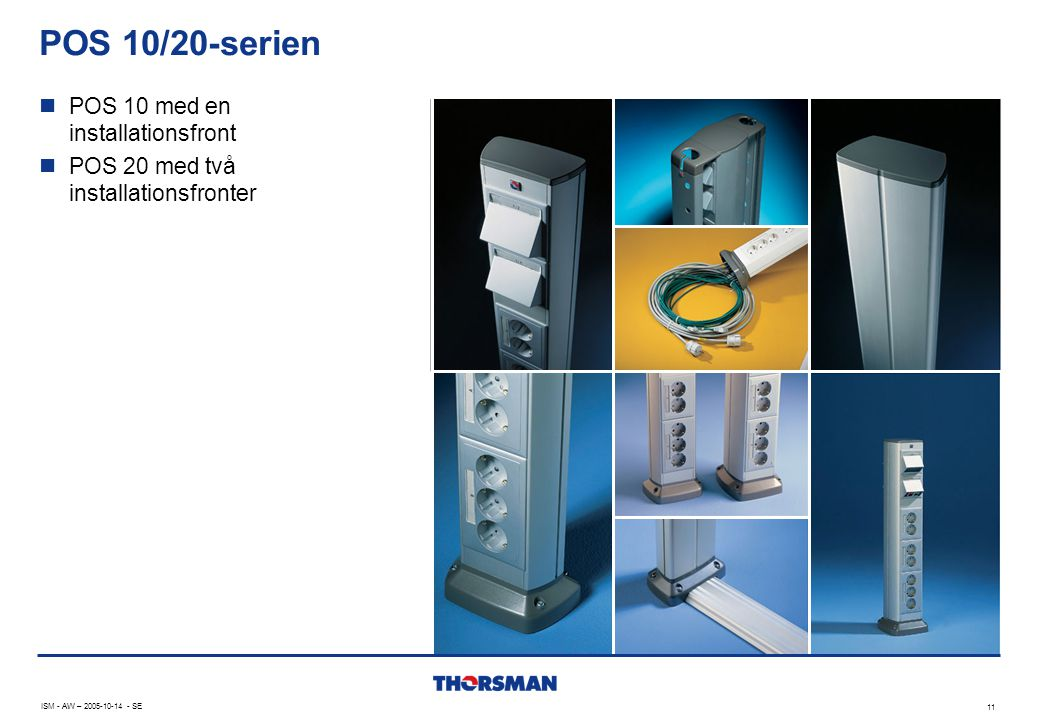 POS 10/20-serien POS 10 med en installationsfront