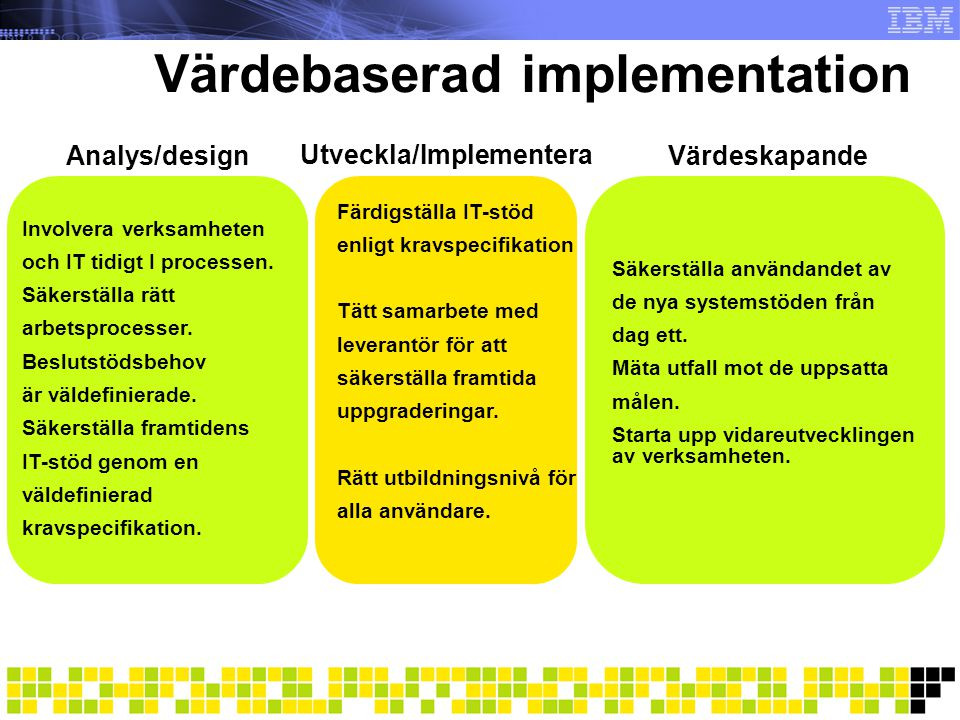 Värdebaserad implementation
