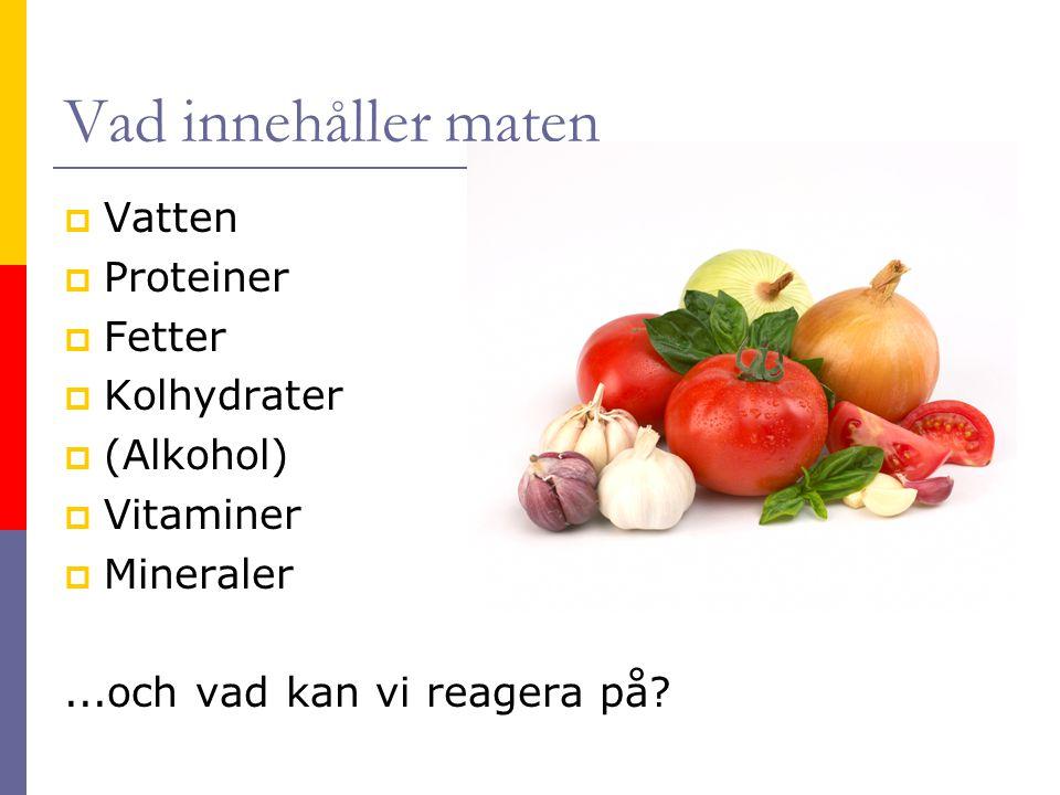 Vad innehåller maten Vatten Proteiner Fetter Kolhydrater (Alkohol)