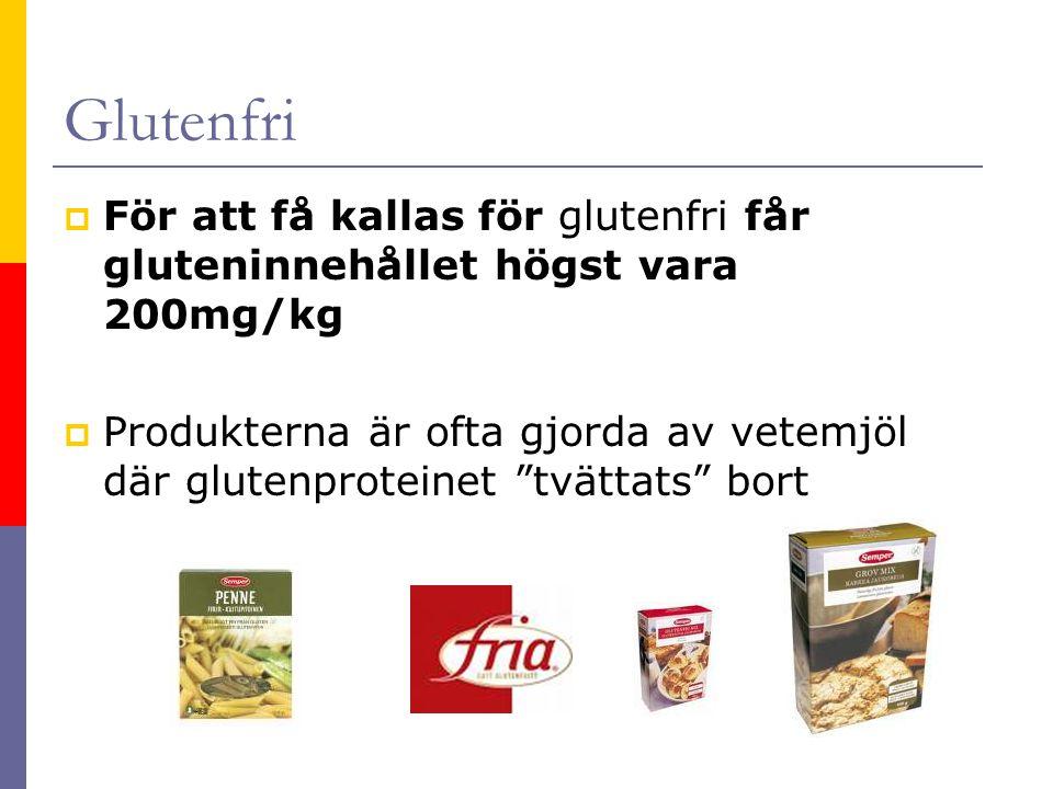 Glutenfri För att få kallas för glutenfri får gluteninnehållet högst vara 200mg/kg.