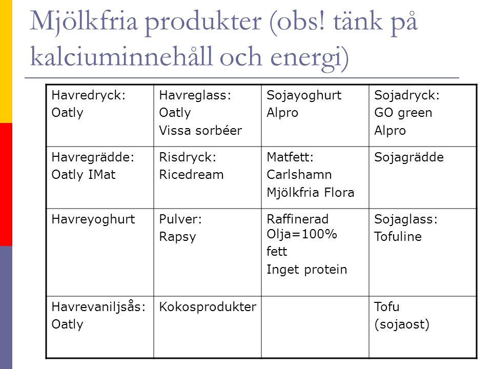 Mjölkfria produkter (obs! tänk på kalciuminnehåll och energi)