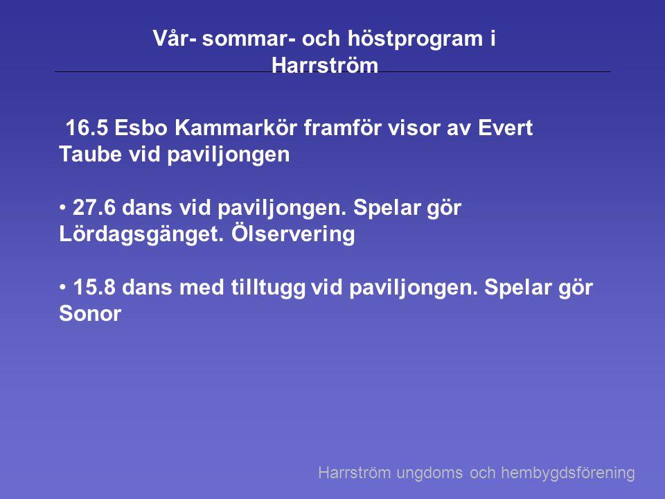 Vår- sommar- och höstprogram i Harrström