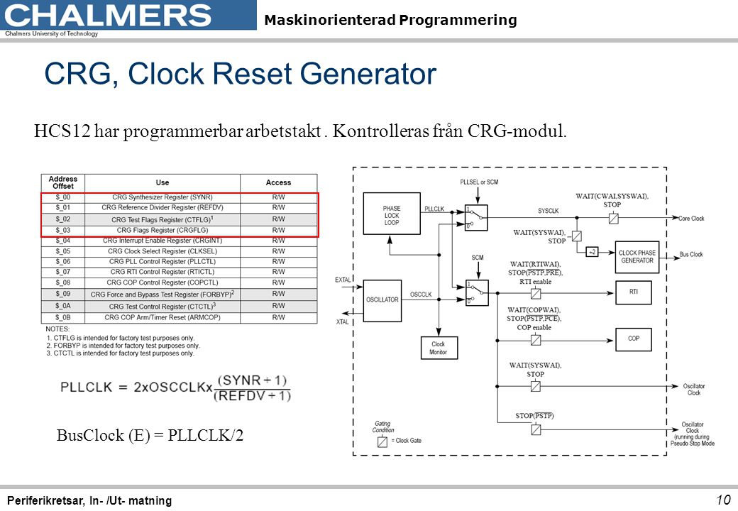 CRG, Clock Reset Generator