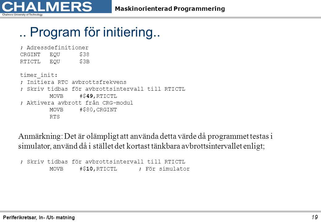 .. Program för initiering..