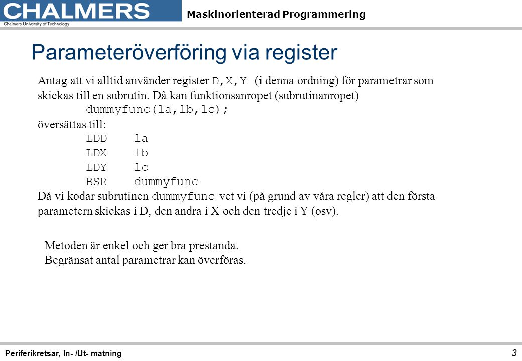 Parameteröverföring via register