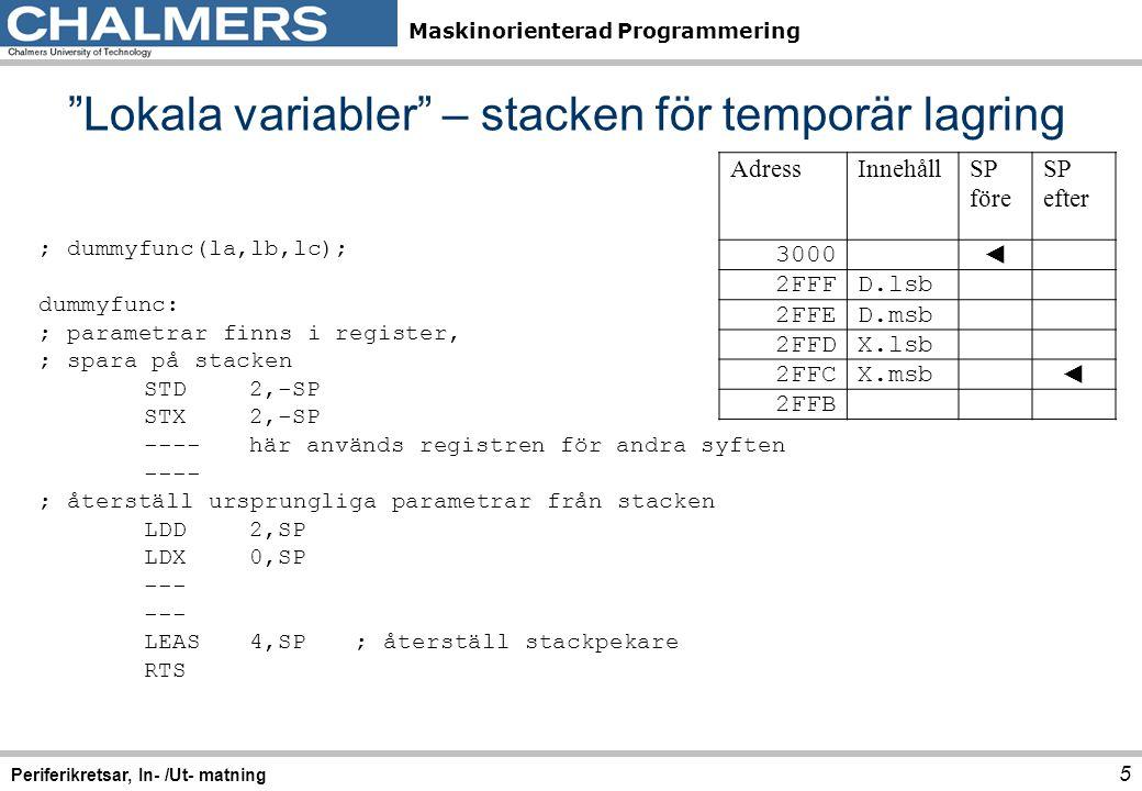 Lokala variabler – stacken för temporär lagring