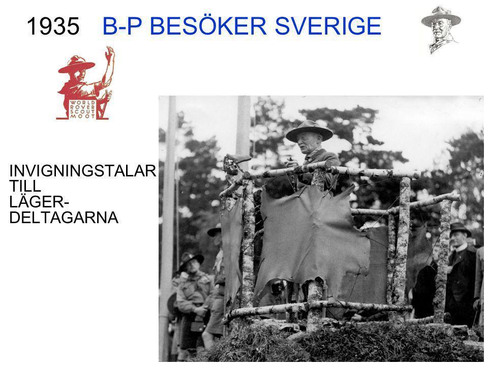 B-P BESÖKER SVERIGE 1935 INVIGNINGSTALAR TILL LÄGER- DELTAGARNA