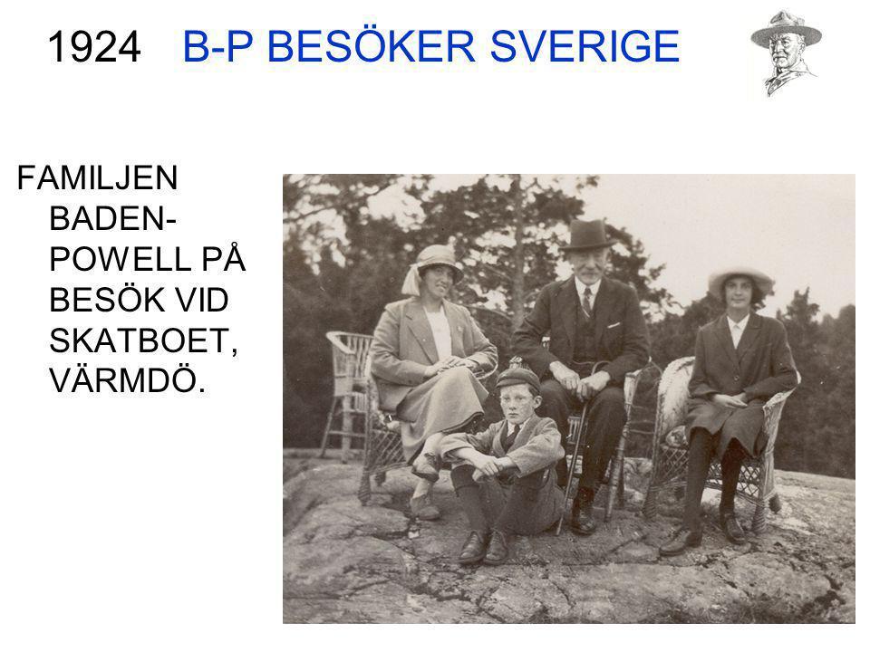 B-P BESÖKER SVERIGE 1924 FAMILJEN BADEN-POWELL PÅ BESÖK VID SKATBOET, VÄRMDÖ.