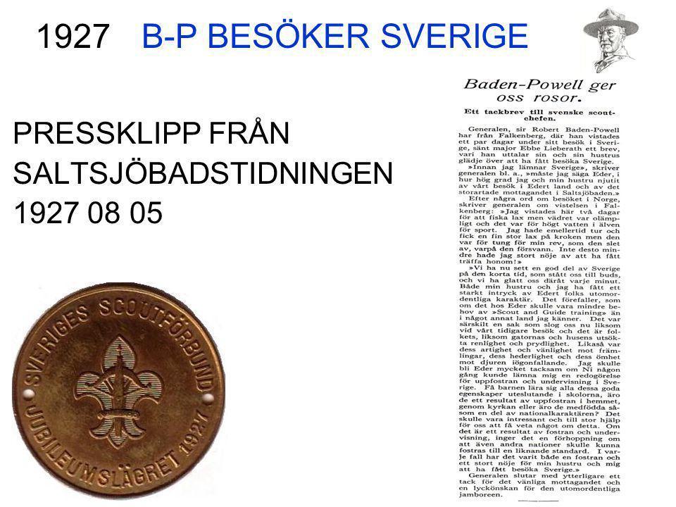 B-P BESÖKER SVERIGE 1927 PRESSKLIPP FRÅN SALTSJÖBADSTIDNINGEN