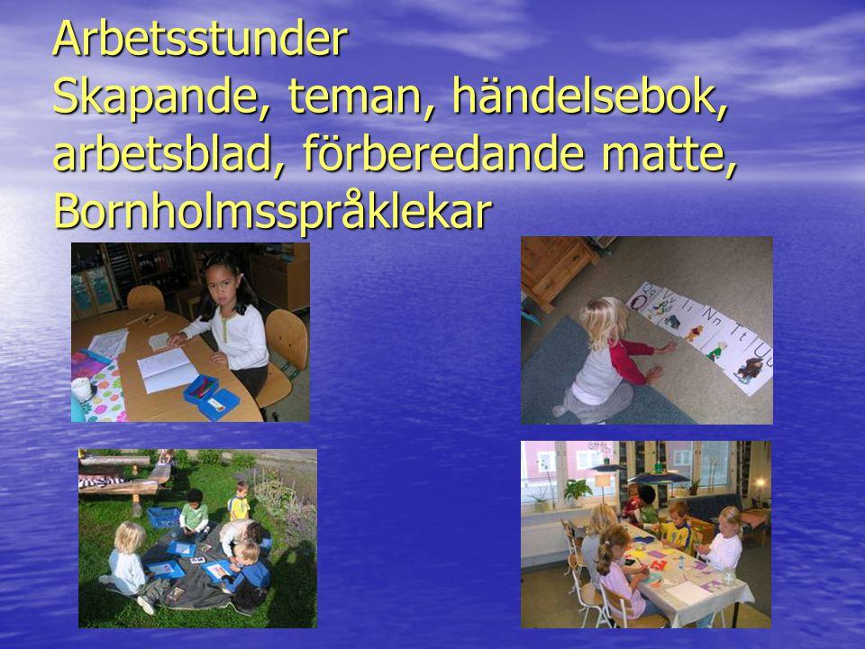 Arbetsstunder Skapande, teman, händelsebok, arbetsblad, förberedande matte, Bornholmsspråklekar