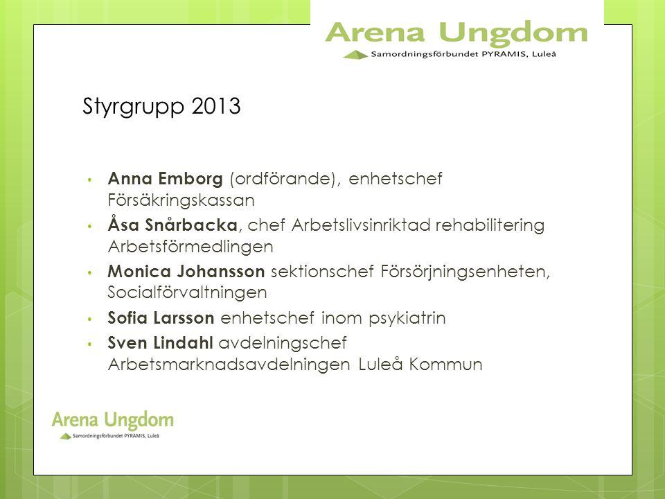 Styrgrupp 2013 Anna Emborg (ordförande), enhetschef Försäkringskassan
