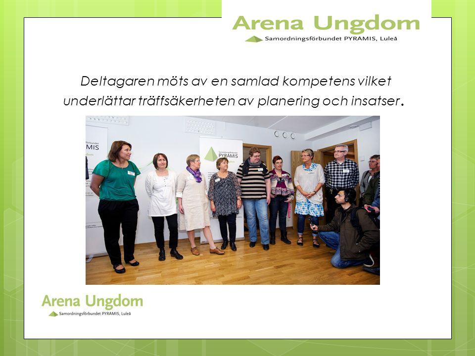 Deltagaren möts av en samlad kompetens vilket underlättar träffsäkerheten av planering och insatser.