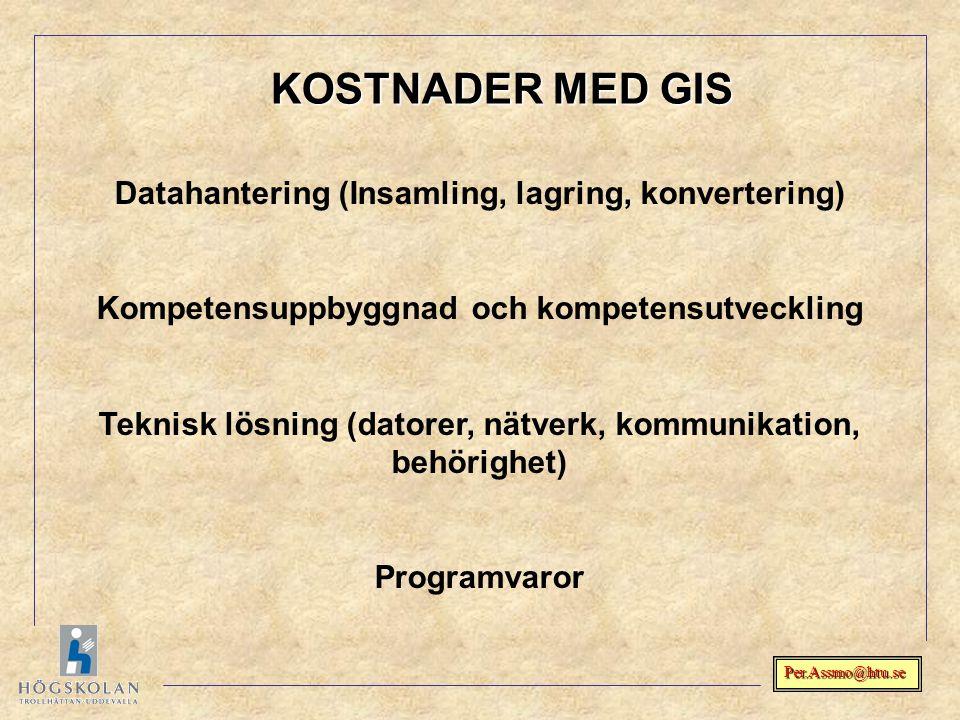 KOSTNADER MED GIS Datahantering (Insamling, lagring, konvertering)