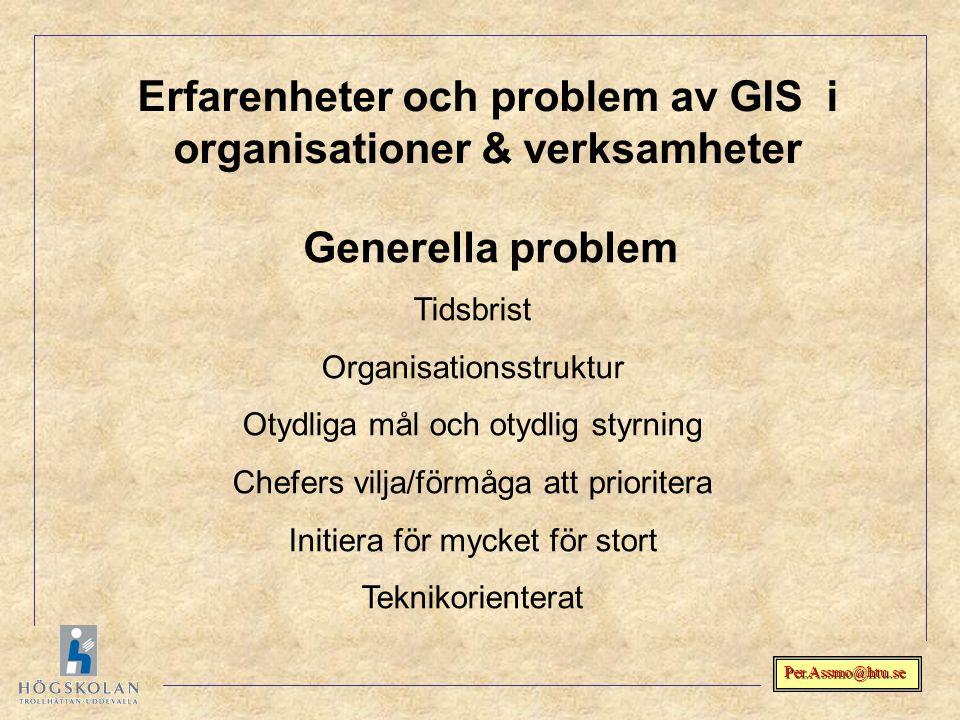 Erfarenheter och problem av GIS i organisationer & verksamheter