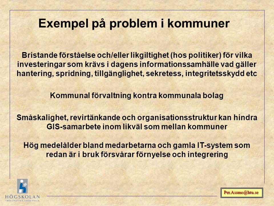Exempel på problem i kommuner