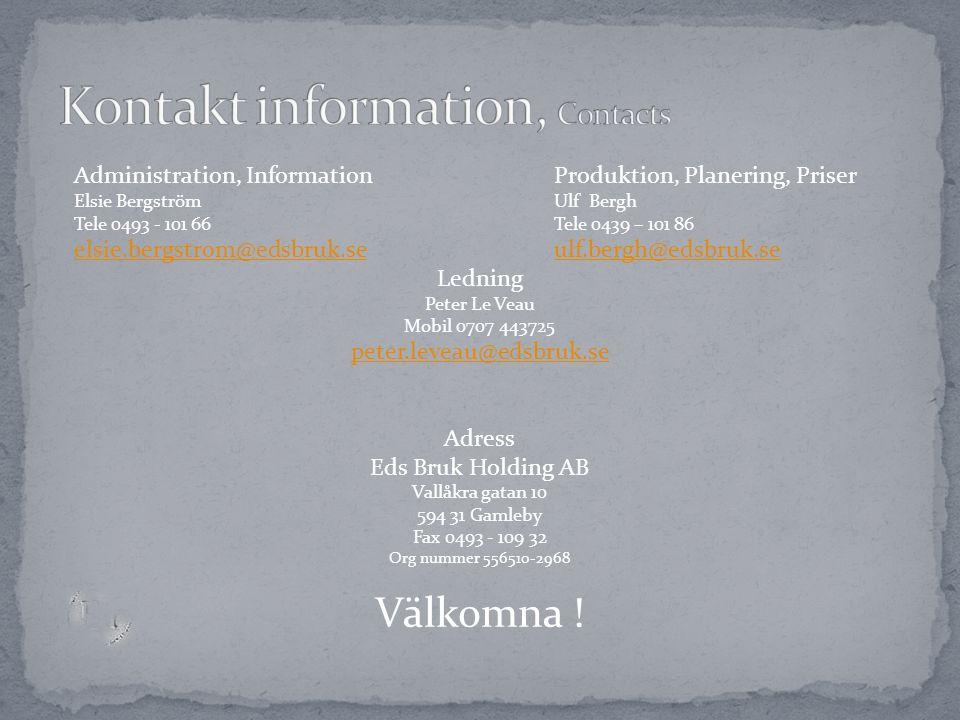 Kontakt information, Contacts