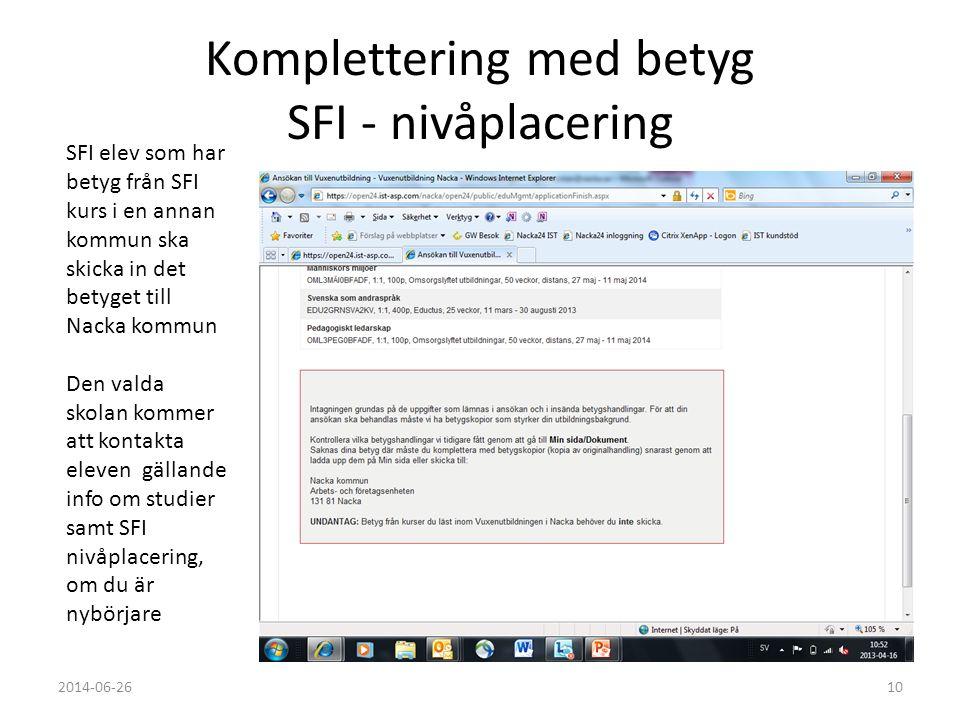 Komplettering med betyg SFI - nivåplacering