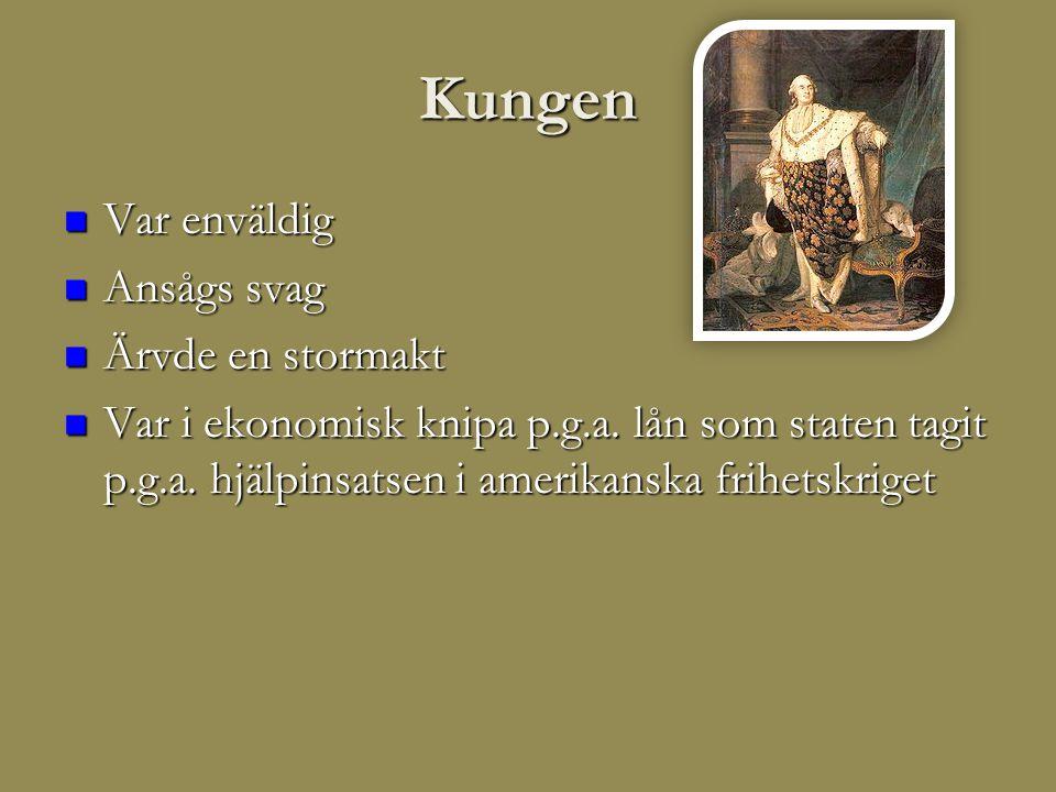 Kungen Var enväldig Ansågs svag Ärvde en stormakt