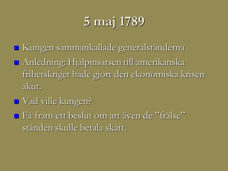 5 maj 1789 Kungen sammankallade generalständerna