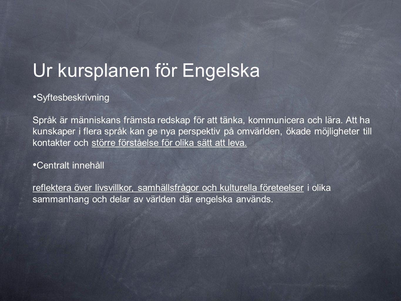 Ur kursplanen för Engelska