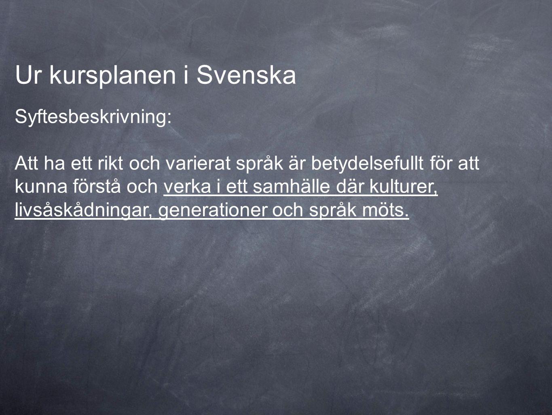 Ur kursplanen i Svenska