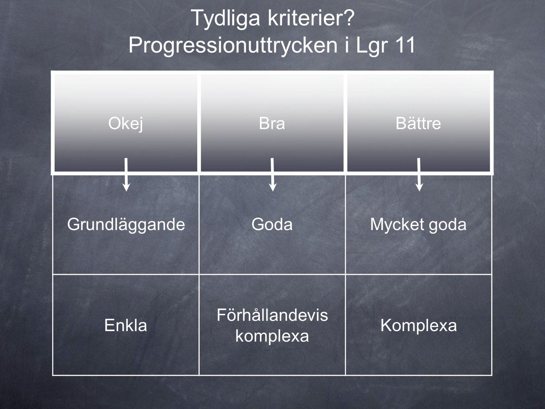 Tydliga kriterier Progressionuttrycken i Lgr 11
