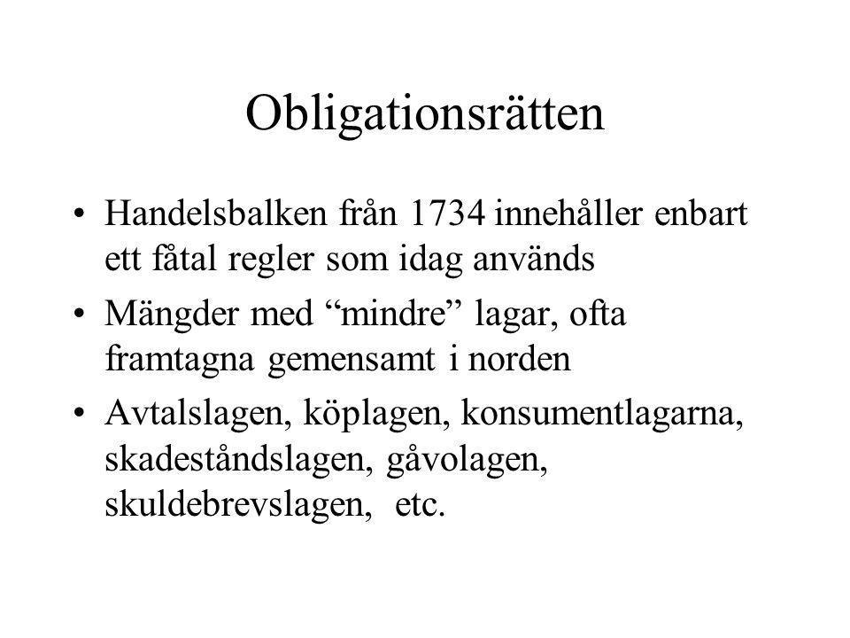 Obligationsrätten Handelsbalken från 1734 innehåller enbart ett fåtal regler som idag används.