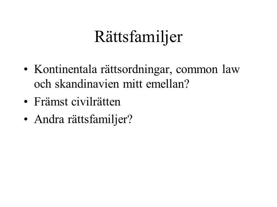 Rättsfamiljer Kontinentala rättsordningar, common law och skandinavien mitt emellan Främst civilrätten.