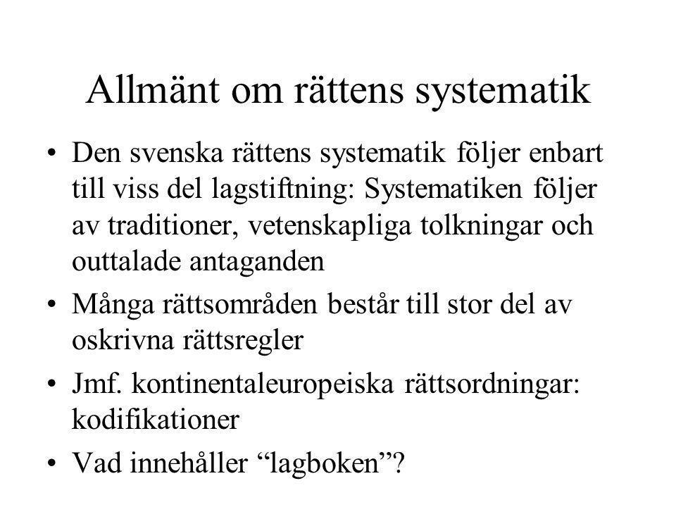 Allmänt om rättens systematik