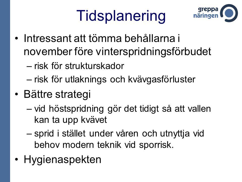 Tidsplanering Intressant att tömma behållarna i november före vinterspridningsförbudet. risk för strukturskador.