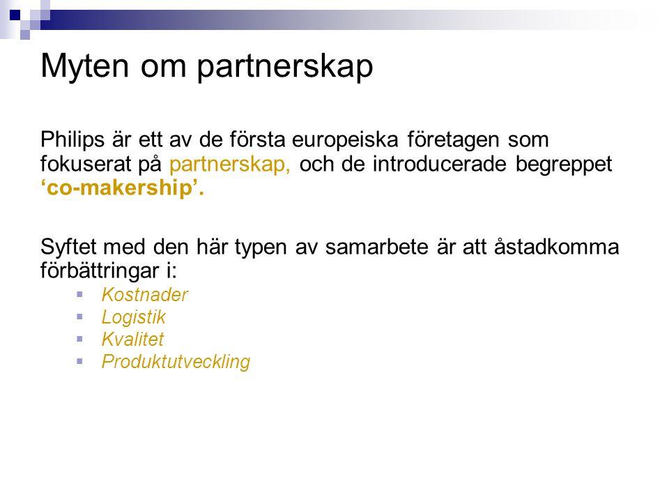 Myten om partnerskap Philips är ett av de första europeiska företagen som fokuserat på partnerskap, och de introducerade begreppet 'co-makership'.