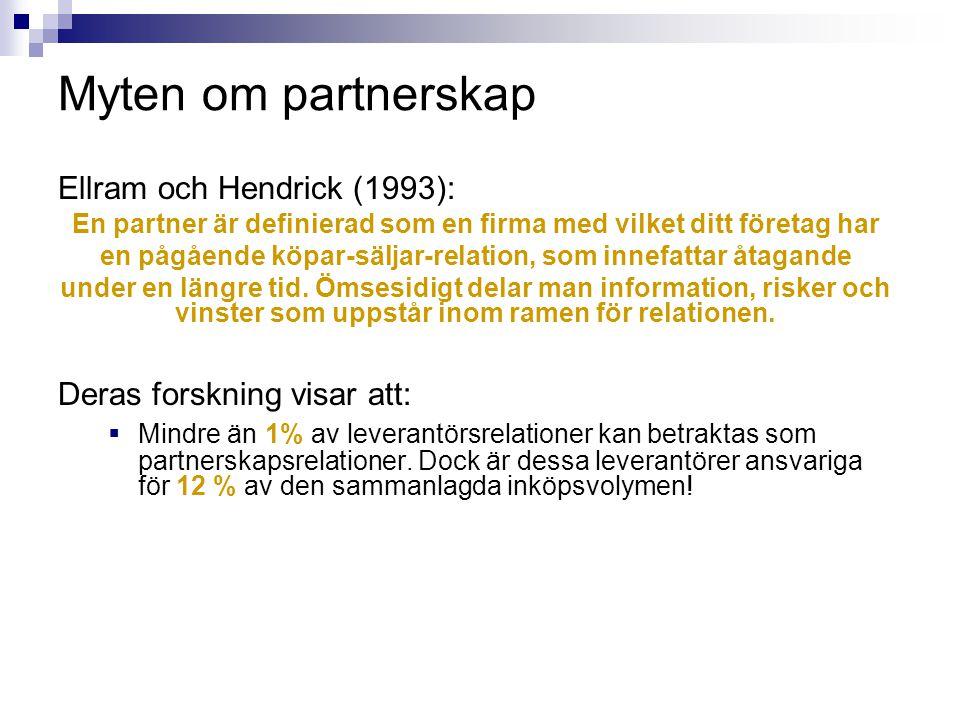 Myten om partnerskap Ellram och Hendrick (1993):