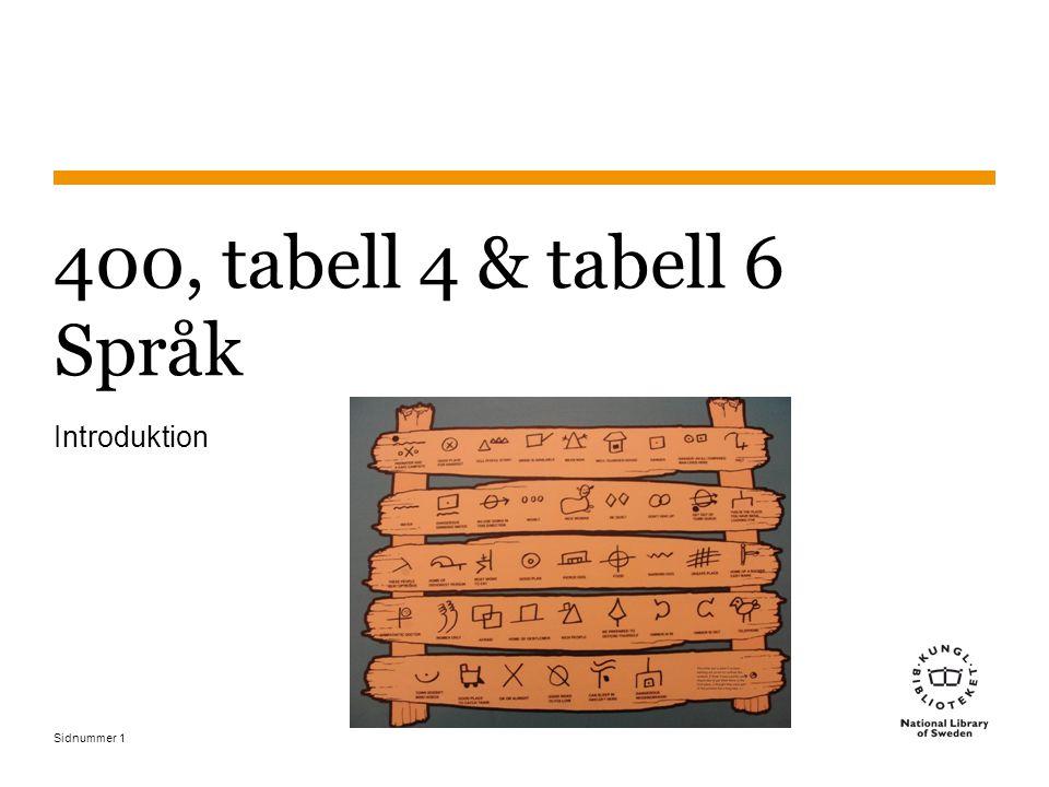 400, tabell 4 & tabell 6 Språk Introduktion