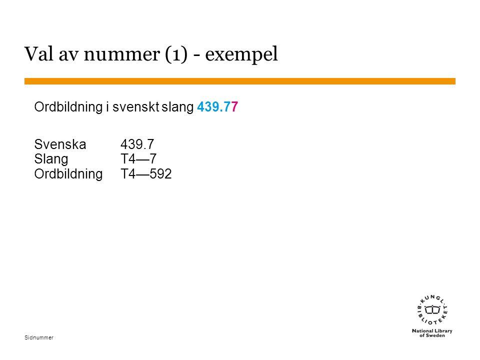 Val av nummer (1) - exempel