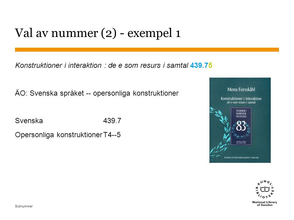 Val av nummer (2) - exempel 1