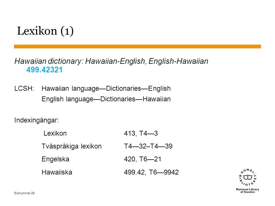 Lexikon (1) Hawaiian dictionary: Hawaiian-English, English-Hawaiian 499.42321. LCSH: Hawaiian language—Dictionaries—English.