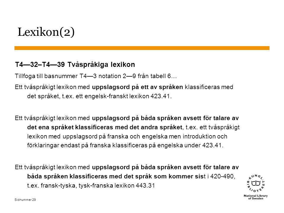 Lexikon(2) T4—32–T4—39 Tvåspråkiga lexikon