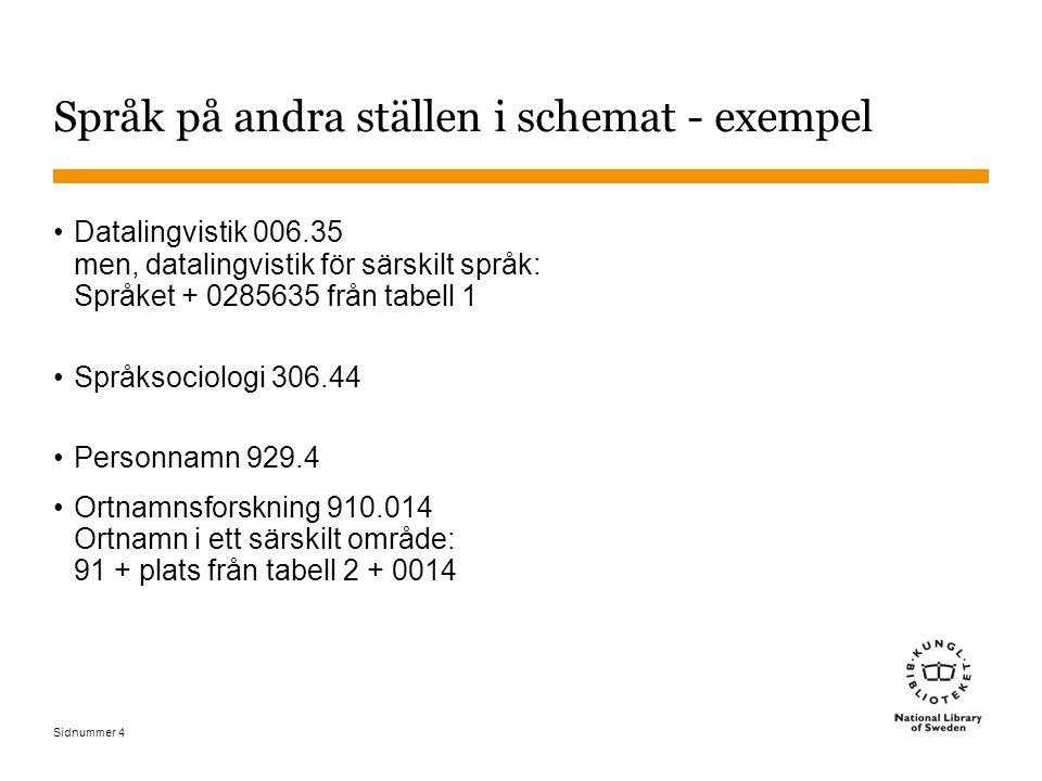 Språk på andra ställen i schemat - exempel