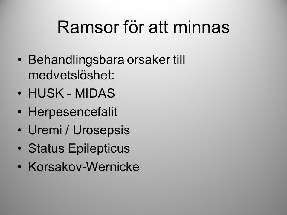 Ramsor för att minnas Behandlingsbara orsaker till medvetslöshet: