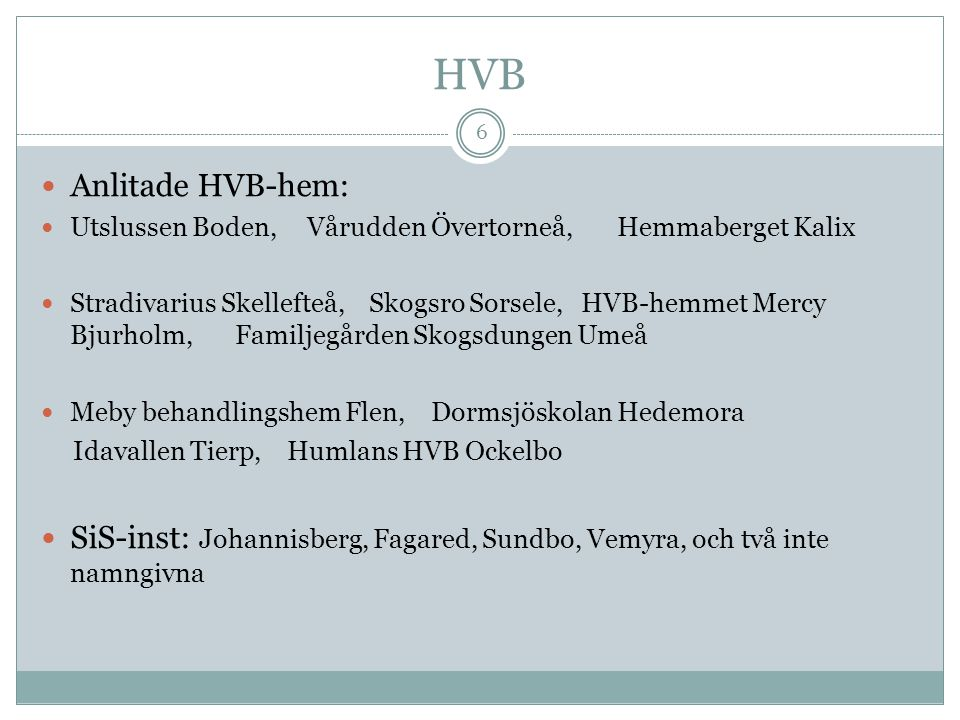 HVB Anlitade HVB-hem: Utslussen Boden, Vårudden Övertorneå, Hemmaberget Kalix.