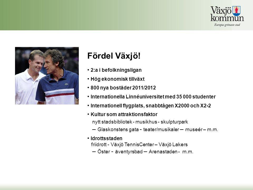 Fördel Växjö! 2:a i befolkningsligan Hög ekonomisk tillväxt