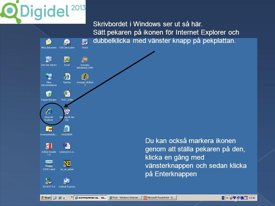 Skrivbordet i Windows ser ut så här.