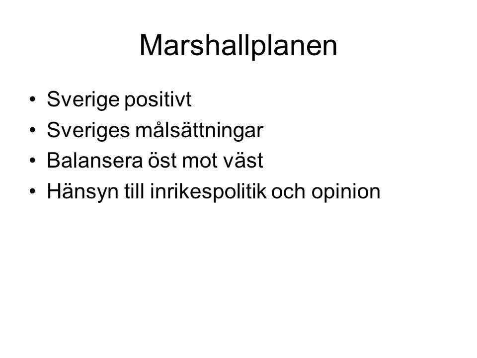 Marshallplanen Sverige positivt Sveriges målsättningar