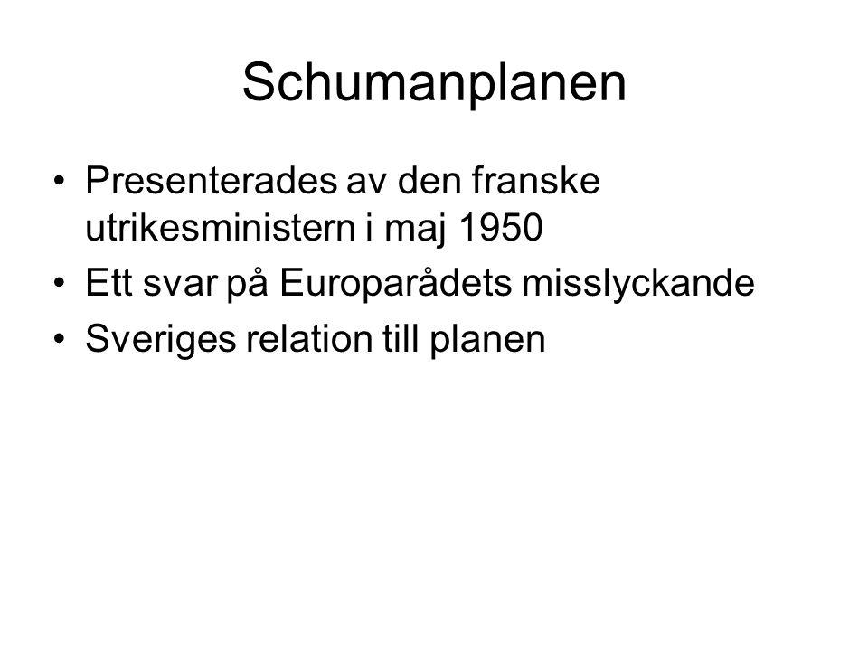 Schumanplanen Presenterades av den franske utrikesministern i maj 1950