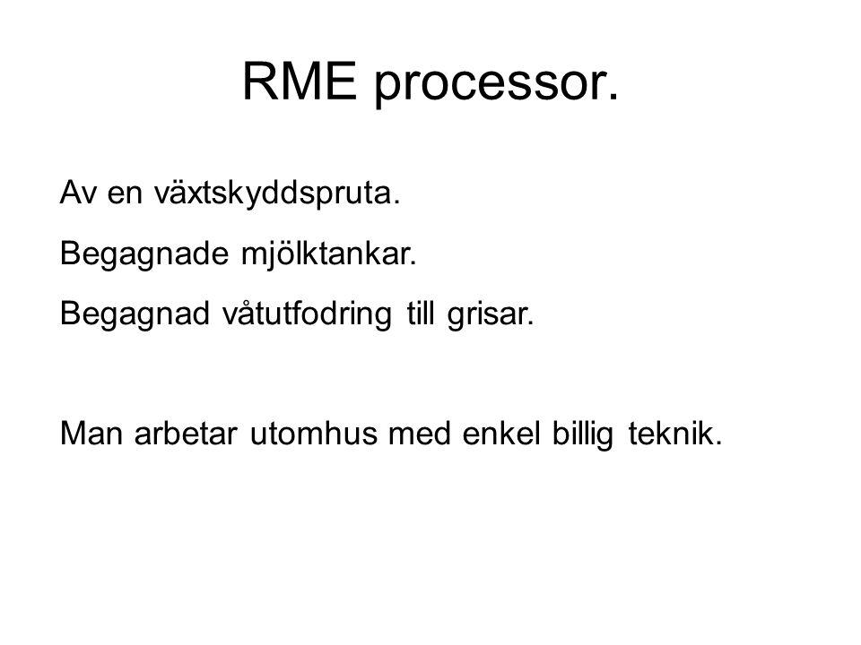 RME processor. Av en växtskyddspruta. Begagnade mjölktankar.