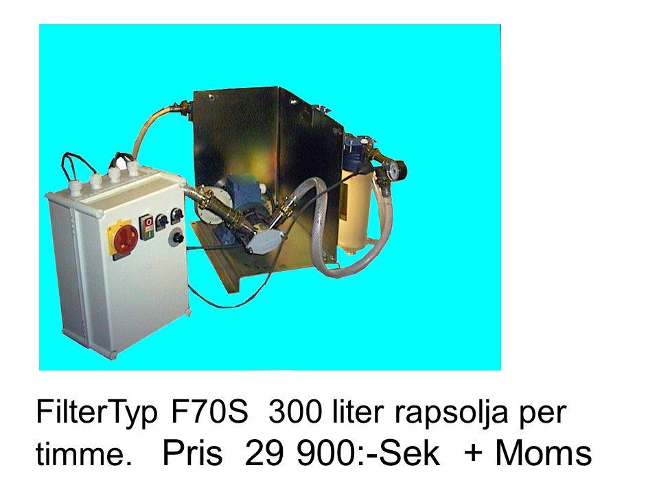 FilterTyp F70S 300 liter rapsolja per timme. Pris 29 900:-Sek + Moms