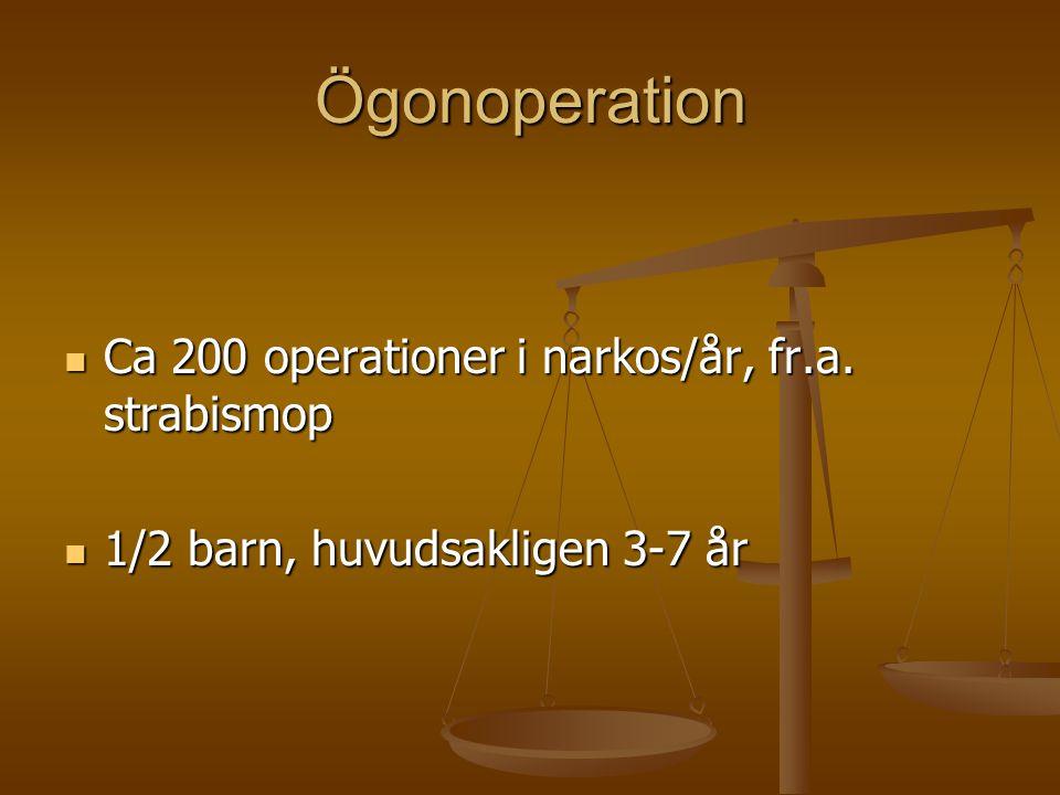 Ögonoperation Ca 200 operationer i narkos/år, fr.a. strabismop