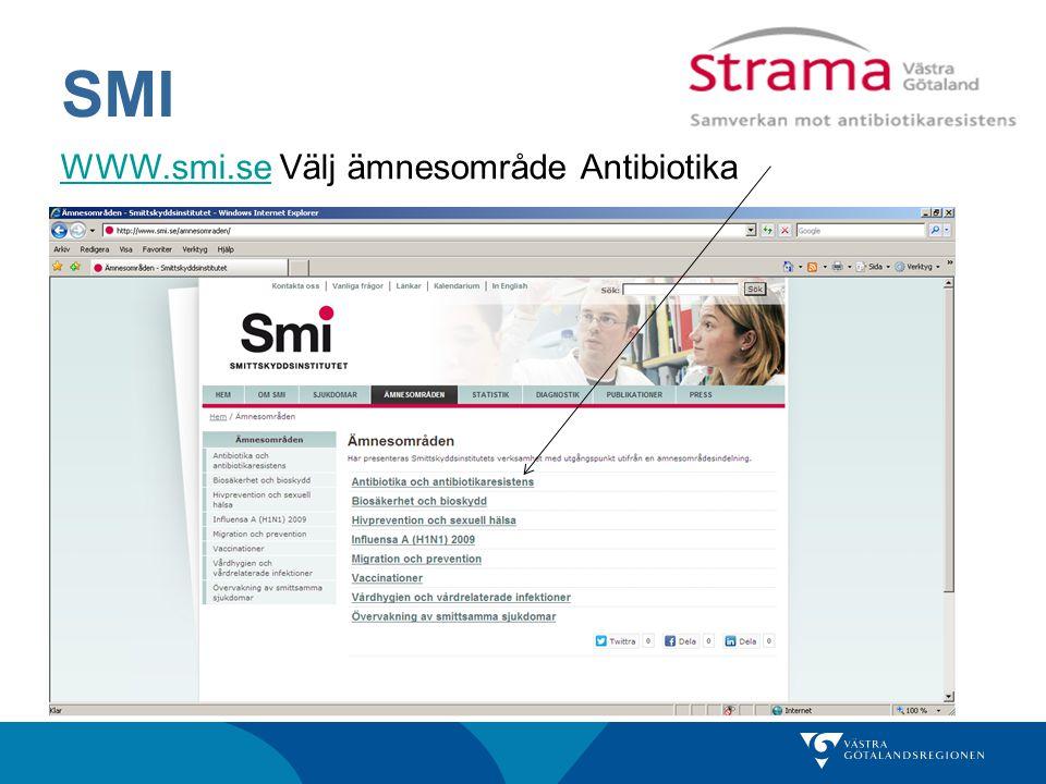 SMI WWW.smi.se Välj ämnesområde Antibiotika